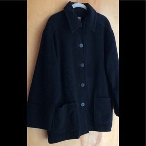 Eileen Fisher black wool coat size large